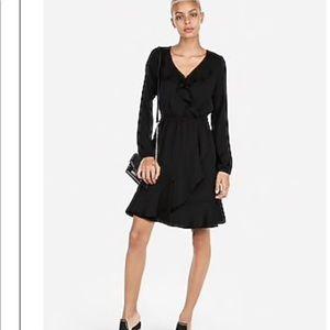Express black Ruffle Elastic Waist Wrap Dress